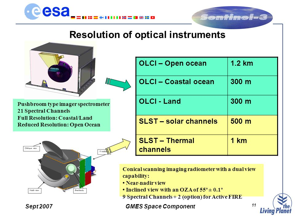 Sept 2007GMES Space Component 11 Resolution of optical instruments OLCI – Open ocean1.2 km OLCI – Coastal ocean300 m OLCI - Land300 m SLST – solar channels500 m SLST – Thermal channels 1 km Pushbroom type imager spectrometer 21 Spectral Channels Full Resolution: Coastal/Land Reduced Resolution: Open Ocean Conical scanning imaging radiometer with a dual view capability: Near-nadir view Inclined view with an OZA of 55º ± 0.1º 9 Spectral Channels + 2 (option) for Active FIRE