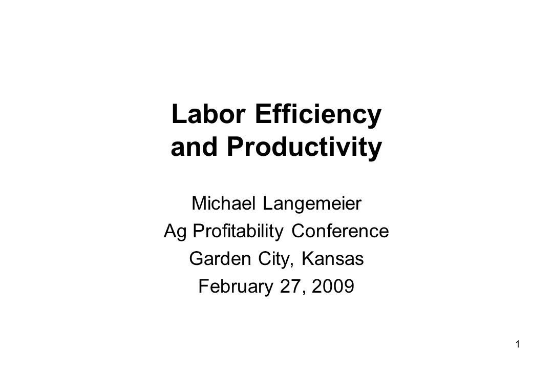 Labor Efficiency and Productivity Michael Langemeier Ag Profitability Conference Garden City, Kansas February 27, 2009 1