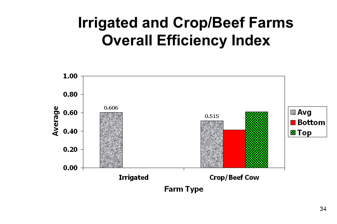 Irrigated and Crop/Beef Farms Overall Efficiency Index 34