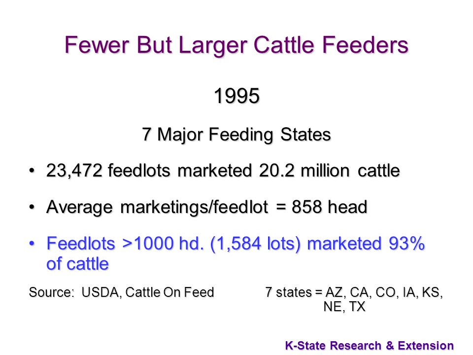 18 K-State Research & Extension Fewer But Larger Cattle Feeders 1995 7 Major Feeding States 23,472 feedlots marketed 20.2 million cattle23,472 feedlots marketed 20.2 million cattle Average marketings/feedlot = 858 headAverage marketings/feedlot = 858 head Feedlots >1000 hd.