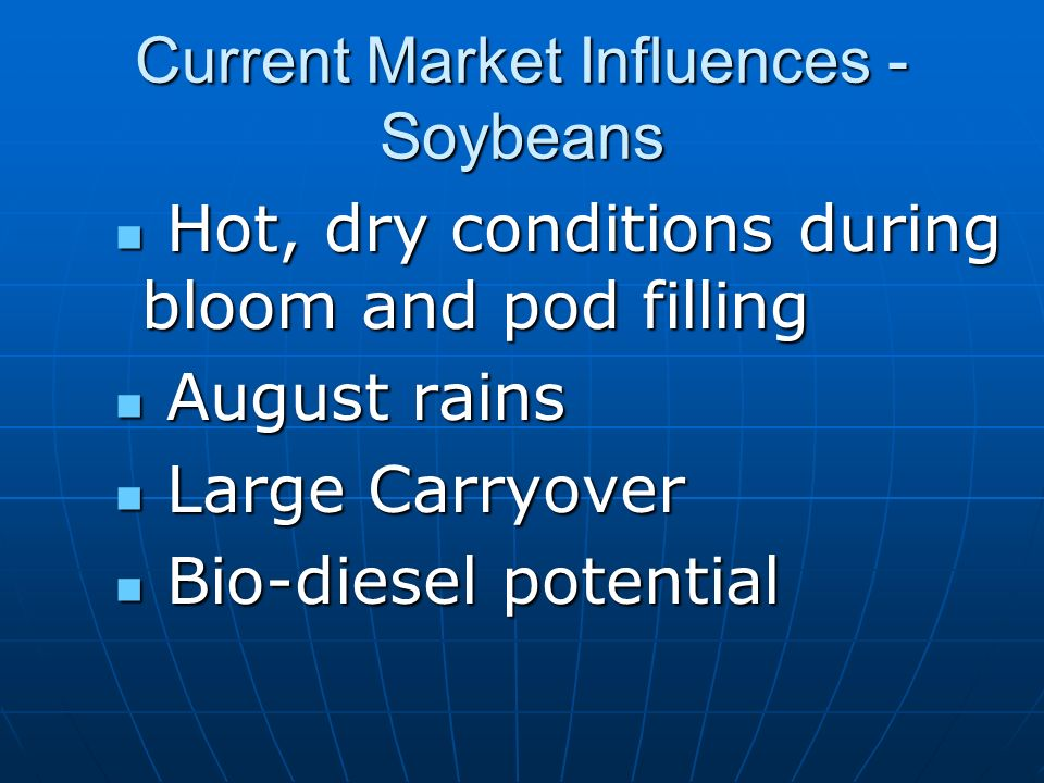 Current Market Influences - Soybeans Hot, dry conditions during bloom and pod filling Hot, dry conditions during bloom and pod filling August rains August rains Large Carryover Large Carryover Bio-diesel potential Bio-diesel potential