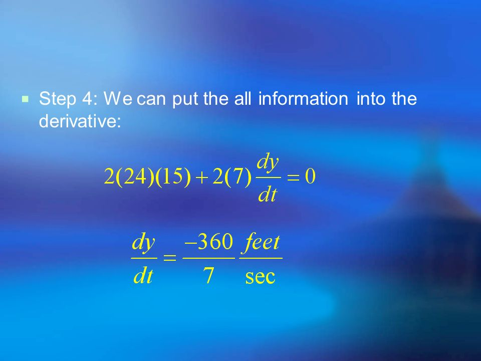 Step 4: We can put the all information into the derivative: