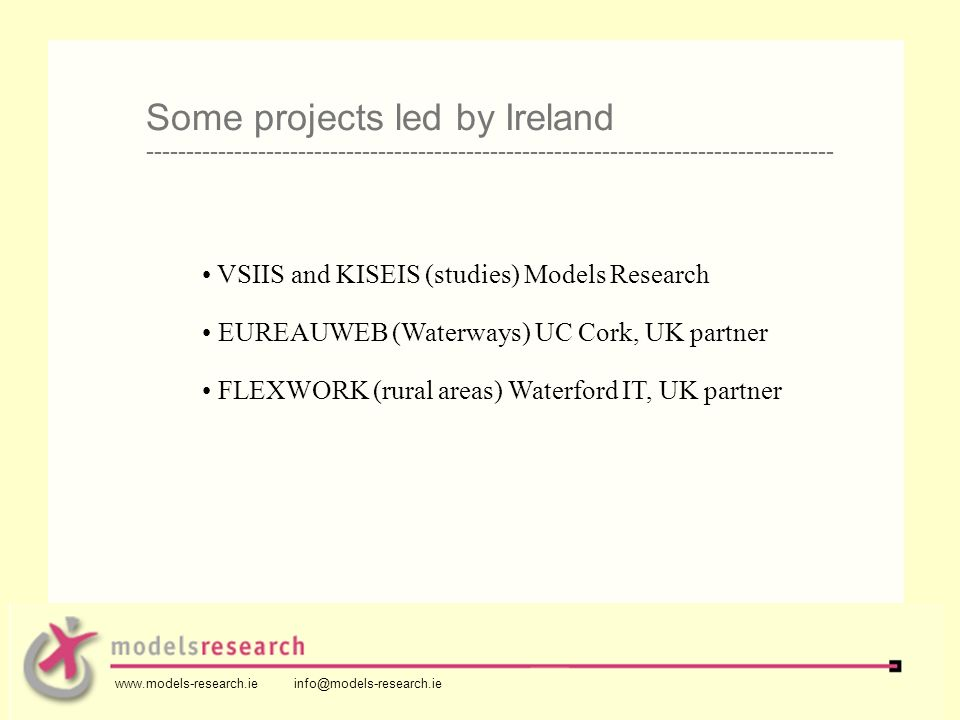 VSIIS and KISEIS (studies) Models Research EUREAUWEB (Waterways) UC Cork, UK partner FLEXWORK (rural areas) Waterford IT, UK partner Some projects led by Ireland -------------------------------------------------------------------------------------- www.models-research.ie info@models-research.ie