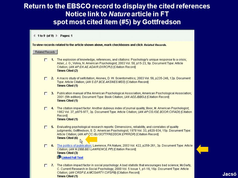 Return to the EBSCO record to display the cited references Notice link to Nature article in FT spot most cited item (#5) by Gottfredson Jacsó