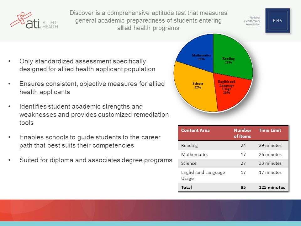 Only standardized assessment specifically designed for allied health applicant population Ensures consistent, objective measures for allied health applicants Identifies student academic strengths and weaknesses and provides customized remediation tools Enables schools to guide students to the career path that best suits their competencies Suited for diploma and associates degree programs Discover is a comprehensive aptitude test that measures general academic preparedness of students entering allied health programs
