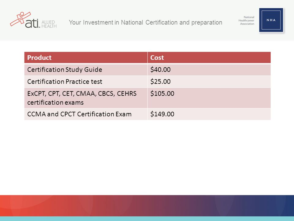 ProductCost Certification Study Guide$40.00 Certification Practice test$25.00 ExCPT, CPT, CET, CMAA, CBCS, CEHRS certification exams $105.00 CCMA and CPCT Certification Exam$149.00 Your Investment in National Certification and preparation