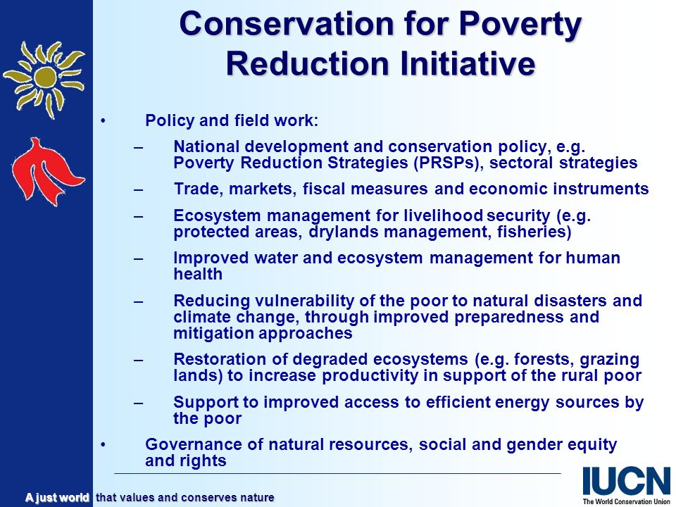 A just world that values and conserves nature Conservation for Poverty Reduction Initiative Policy and field work: –National development and conservation policy, e.g.