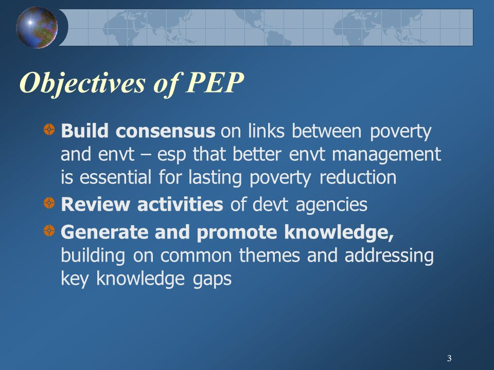 3 Objectives of PEP Build consensus on links between poverty and envt – esp that better envt management is essential for lasting poverty reduction Review activities of devt agencies Generate and promote knowledge, building on common themes and addressing key knowledge gaps