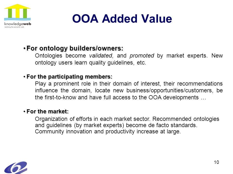 10 OOA Added Value For ontology builders/owners:For ontology builders/owners: Ontologies become validated, and promoted by market experts.