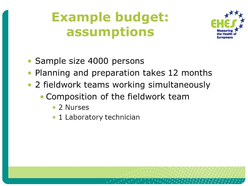Example budget: assumptions Sample size 4000 persons Planning and preparation takes 12 months 2 fieldwork teams working simultaneously Composition of the fieldwork team 2 Nurses 1 Laboratory technician
