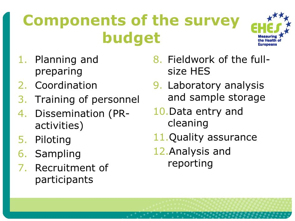 Components of the survey budget 1.Planning and preparing 2.Coordination 3.Training of personnel 4.Dissemination (PR- activities) 5.Piloting 6.Sampling 7.Recruitment of participants 8.Fieldwork of the full- size HES 9.Laboratory analysis and sample storage 10.Data entry and cleaning 11.Quality assurance 12.Analysis and reporting