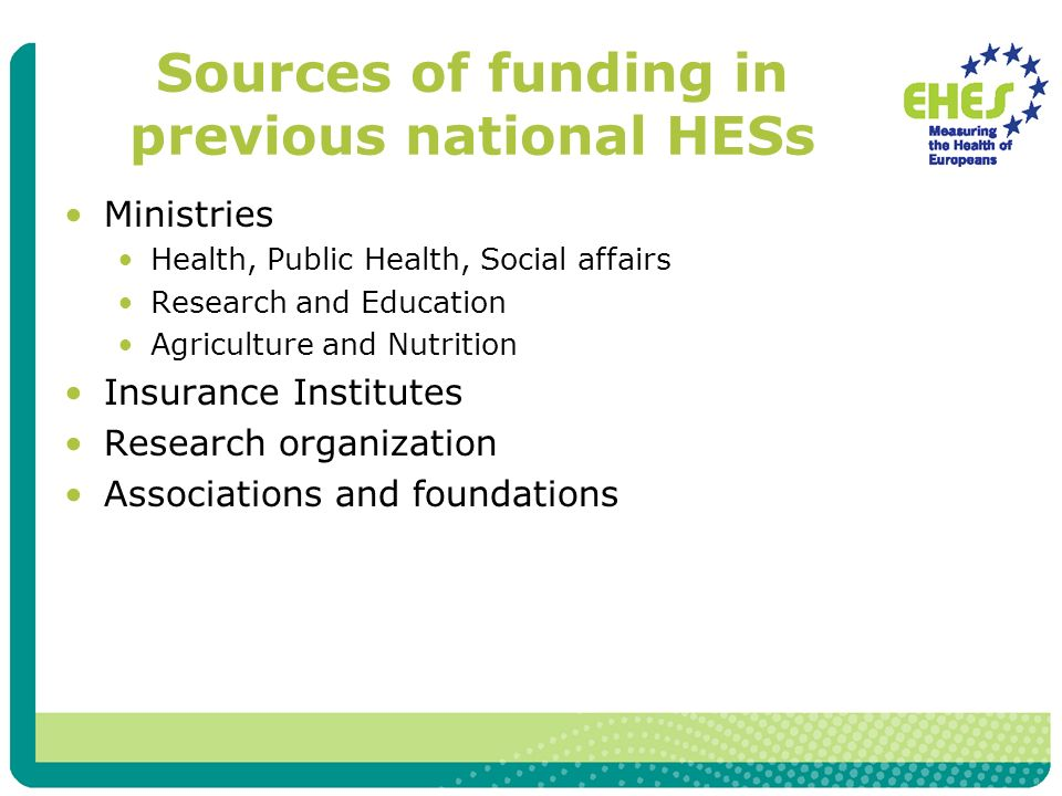 Sources of funding in previous national HESs Ministries Health, Public Health, Social affairs Research and Education Agriculture and Nutrition Insurance Institutes Research organization Associations and foundations