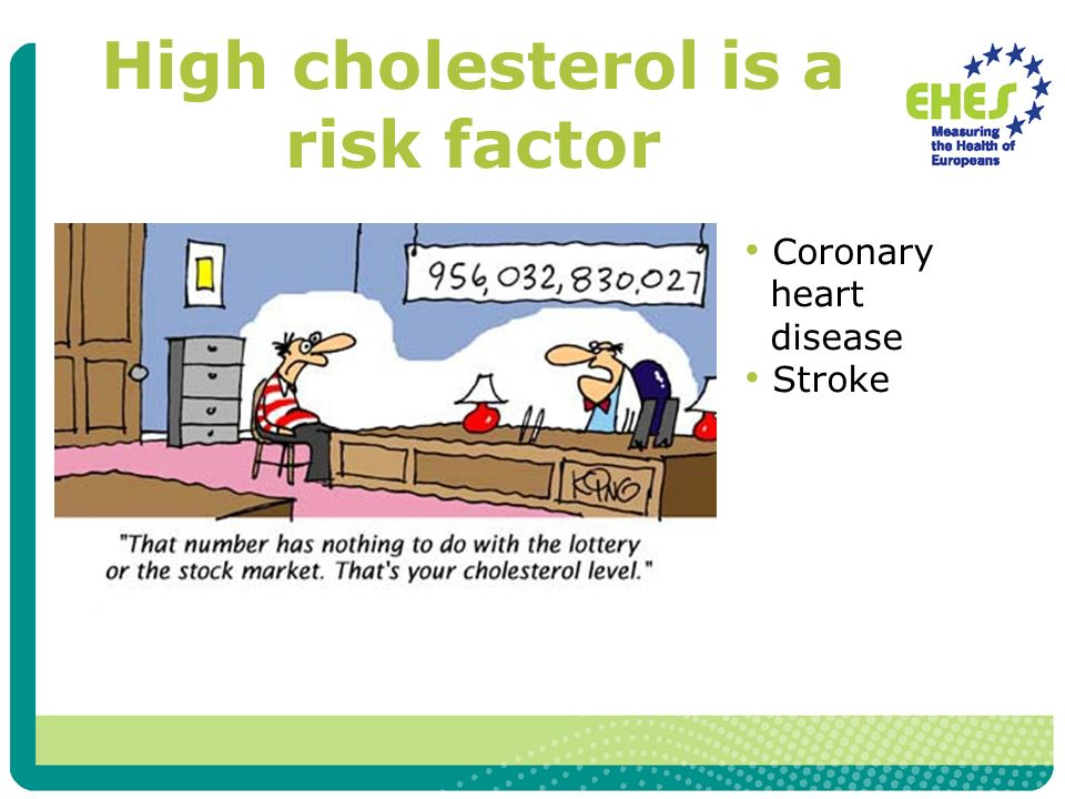 High cholesterol is a risk factor Coronary heart disease Stroke