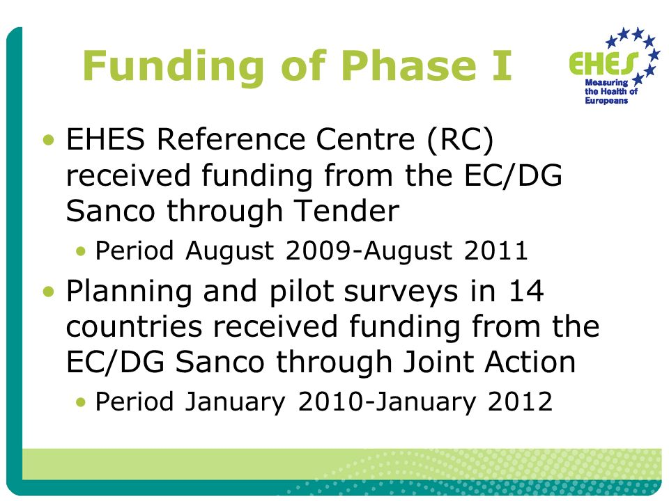 Funding of Phase I EHES Reference Centre (RC) received funding from the EC/DG Sanco through Tender Period August 2009-August 2011 Planning and pilot surveys in 14 countries received funding from the EC/DG Sanco through Joint Action Period January 2010-January 2012