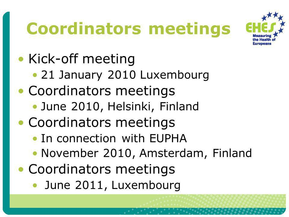 Coordinators meetings Kick-off meeting 21 January 2010 Luxembourg Coordinators meetings June 2010, Helsinki, Finland Coordinators meetings In connection with EUPHA November 2010, Amsterdam, Finland Coordinators meetings June 2011, Luxembourg
