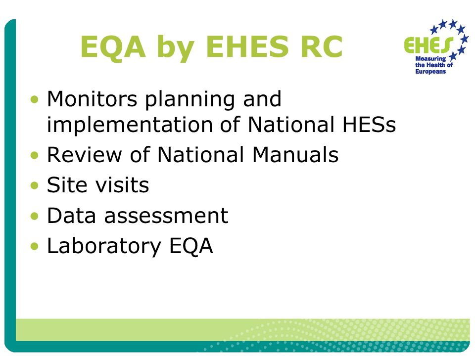 EQA by EHES RC Monitors planning and implementation of National HESs Review of National Manuals Site visits Data assessment Laboratory EQA