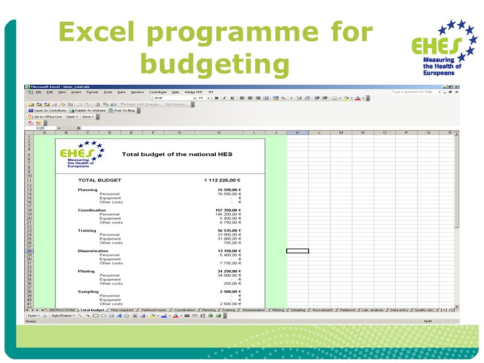 Excel programme for budgeting