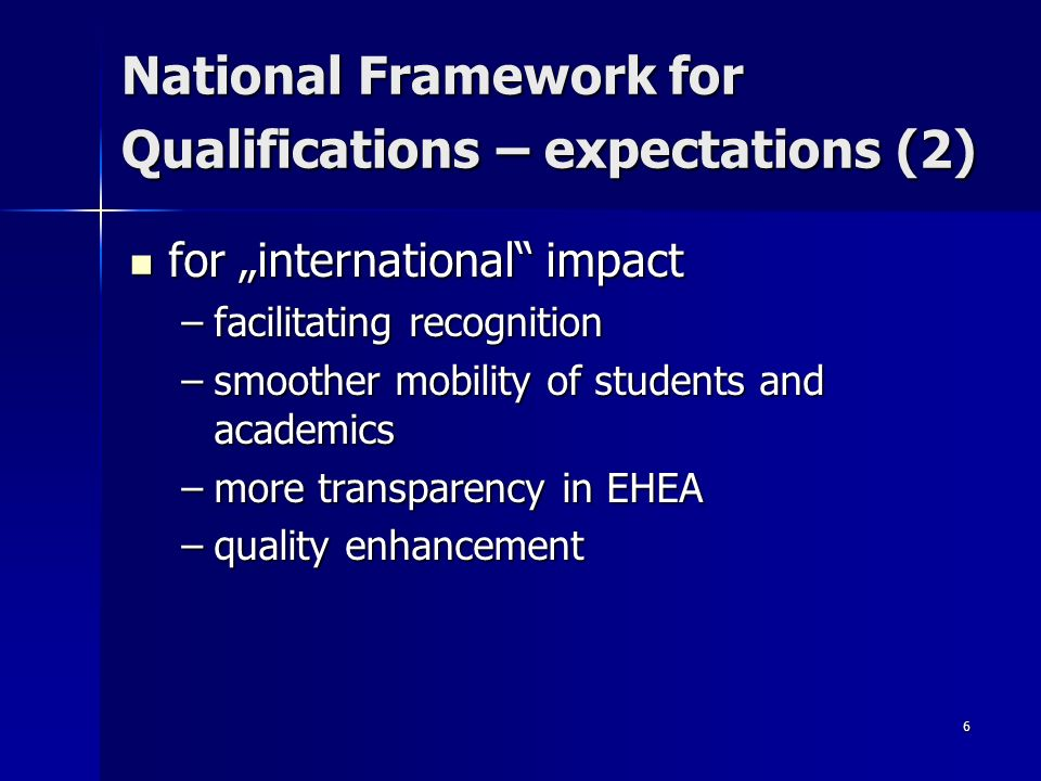 6 National Framework for Qualifications – expectations (2) for international impact for international impact –facilitating recognition –smoother mobility of students and academics –more transparency in EHEA –quality enhancement