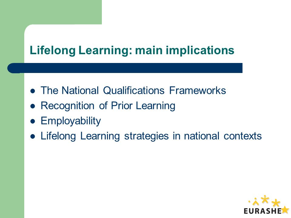 Lifelong Learning: main implications The National Qualifications Frameworks Recognition of Prior Learning Employability Lifelong Learning strategies in national contexts