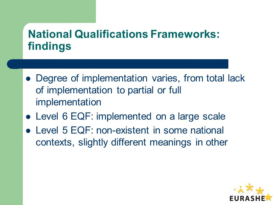 National Qualifications Frameworks: findings Degree of implementation varies, from total lack of implementation to partial or full implementation Level 6 EQF: implemented on a large scale Level 5 EQF: non-existent in some national contexts, slightly different meanings in other