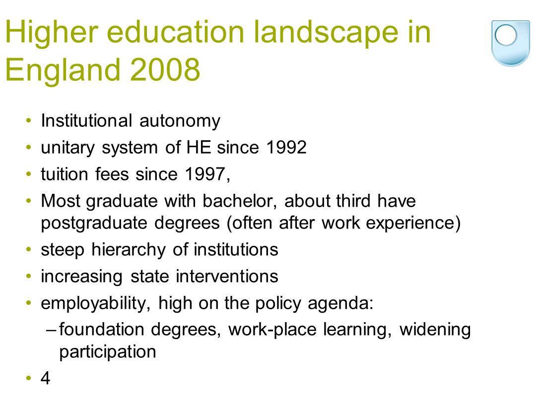 Higher education landscape in England 2008 Institutional autonomy unitary system of HE since 1992 tuition fees since 1997, Most graduate with bachelor, about third have postgraduate degrees (often after work experience) steep hierarchy of institutions increasing state interventions employability, high on the policy agenda: –foundation degrees, work-place learning, widening participation 4