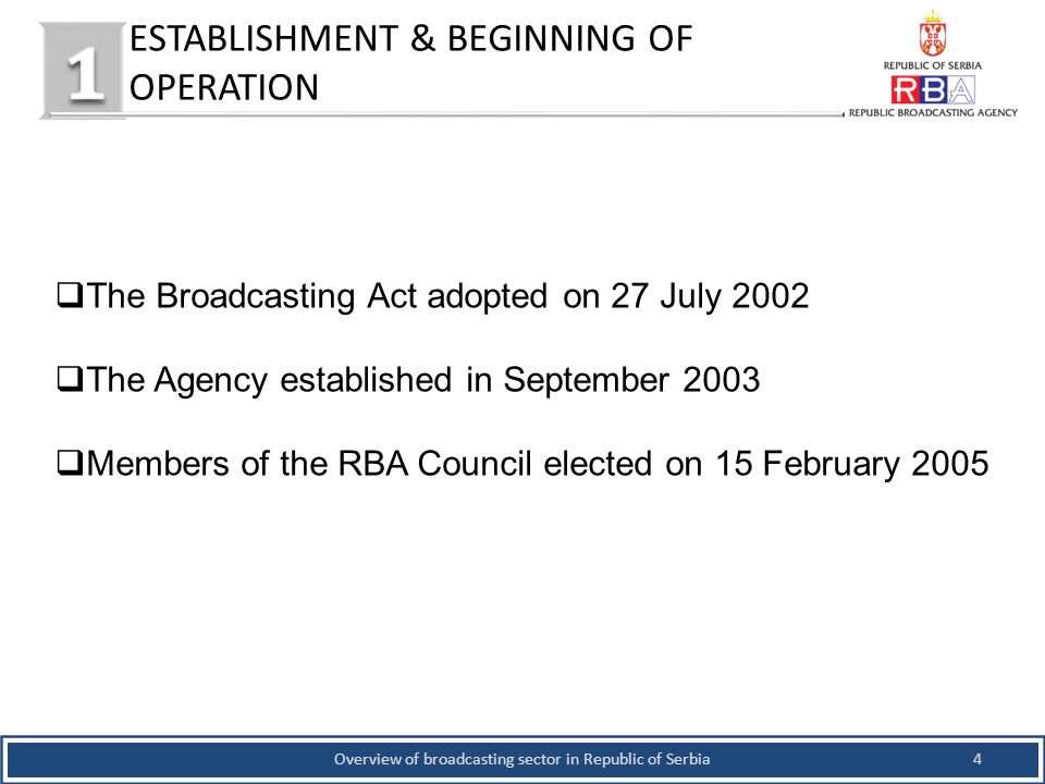 ESTABLISHMENT & BEGINNING OF OPERATION 4Overview of broadcasting sector in Republic of Serbia The Broadcasting Act adopted on 27 July 2002 The Agency established in September 2003 Members of the RBA Council elected on 15 February 2005