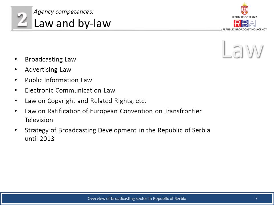 Broadcasting Law Advertising Law Public Information Law Electronic Communication Law Law on Copyright and Related Rights, etc.