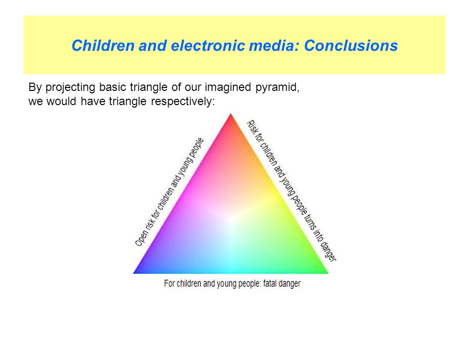 Children and electronic media: Conclusions By projecting basic triangle of our imagined pyramid, we would have triangle respectively: