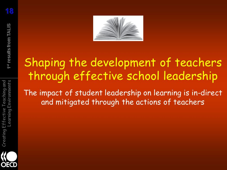 1 st results from TALIS Creating Effective Teaching and Learning Environments Shaping the development of teachers through effective school leadership The impact of student leadership on learning is in-direct and mitigated through the actions of teachers