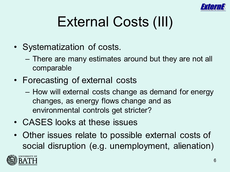 6 External Costs (III) Systematization of costs.