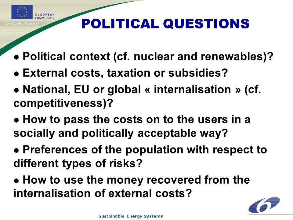Sustainable Energy Systems POLITICAL QUESTIONS Political context (cf.