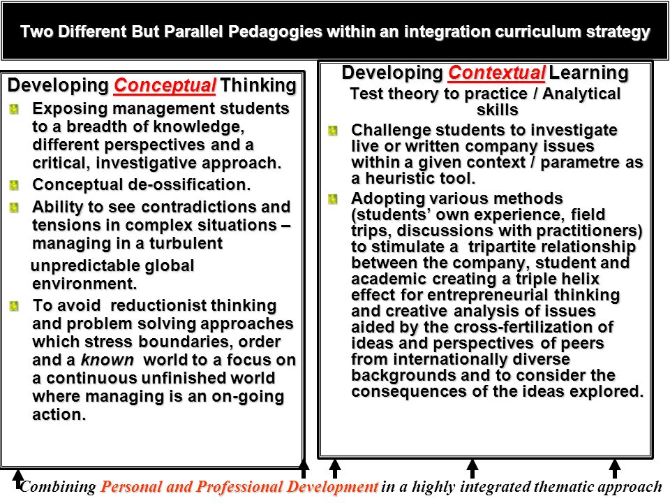 Two Different But Parallel Pedagogies within an integration curriculum strategy Developing Conceptual Thinking Exposing management students to a breadth of knowledge, different perspectives and a critical, investigative approach.