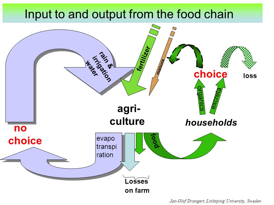 agri- culture households excreta organics food fertilizer Losses on farm choice rain & irrigation water evapo transpi ration no choice manure Jan-Olof Drangert, Linköping University, Sweden Input to and output from the food chain loss