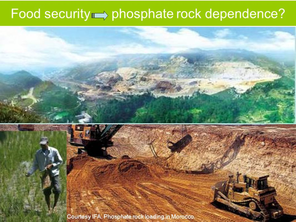 Food security phosphate rock dependence Courtesy IFA. Phosphate rock loading in Morocco.