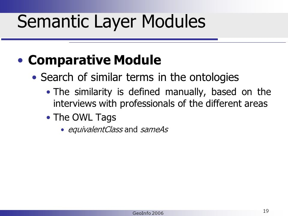 GeoInfo 2006 19 Semantic Layer Modules Comparative Module Search of similar terms in the ontologies The similarity is defined manually, based on the interviews with professionals of the different areas The OWL Tags equivalentClass and sameAs