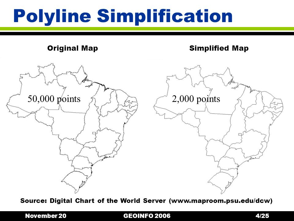 November 20GEOINFO 20064/25 Polyline Simplification Original Map 50,000 points2,000 points Simplified Map Source: Digital Chart of the World Server (www.maproom.psu.edu/dcw)