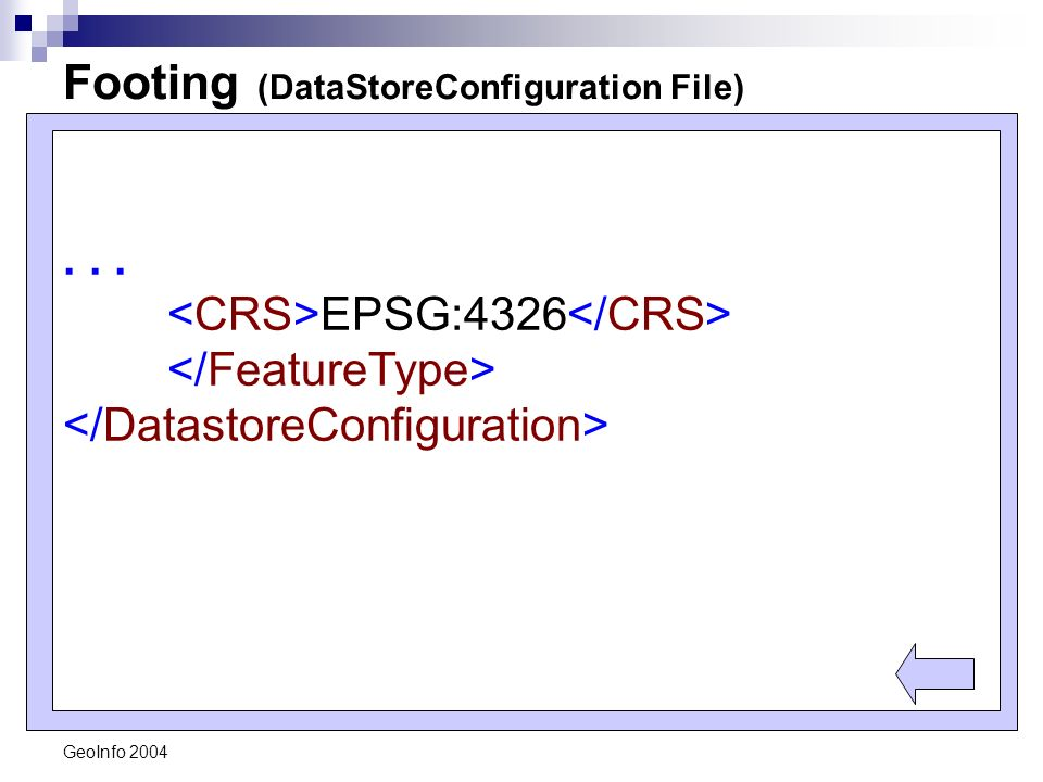 GeoInfo 2004 Footing (DataStoreConfiguration File)... EPSG:4326