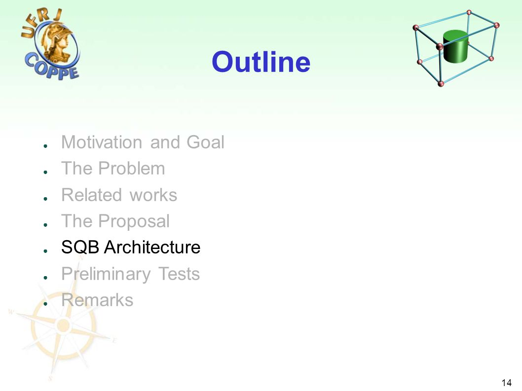 14 Motivation and Goal The Problem Related works The Proposal SQB Architecture Preliminary Tests Remarks Outline