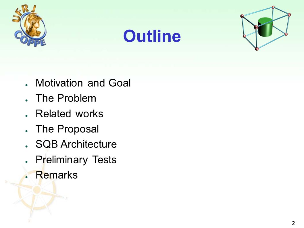 2 Motivation and Goal The Problem Related works The Proposal SQB Architecture Preliminary Tests Remarks Outline
