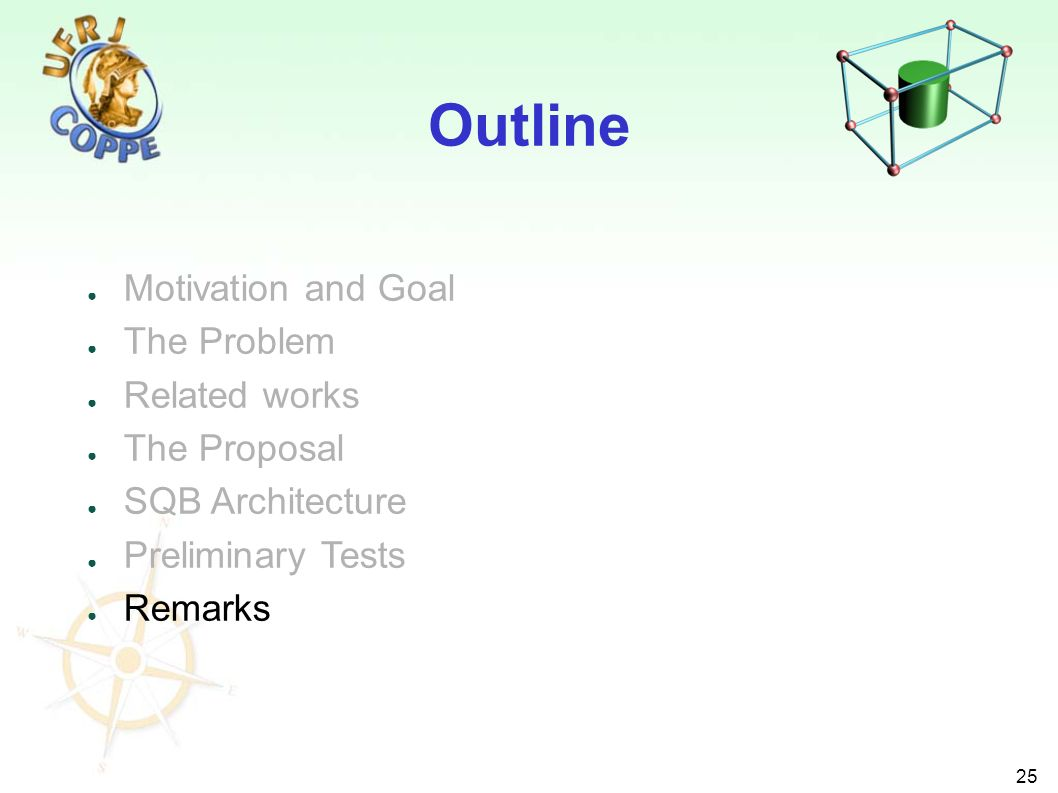 25 Motivation and Goal The Problem Related works The Proposal SQB Architecture Preliminary Tests Remarks Outline