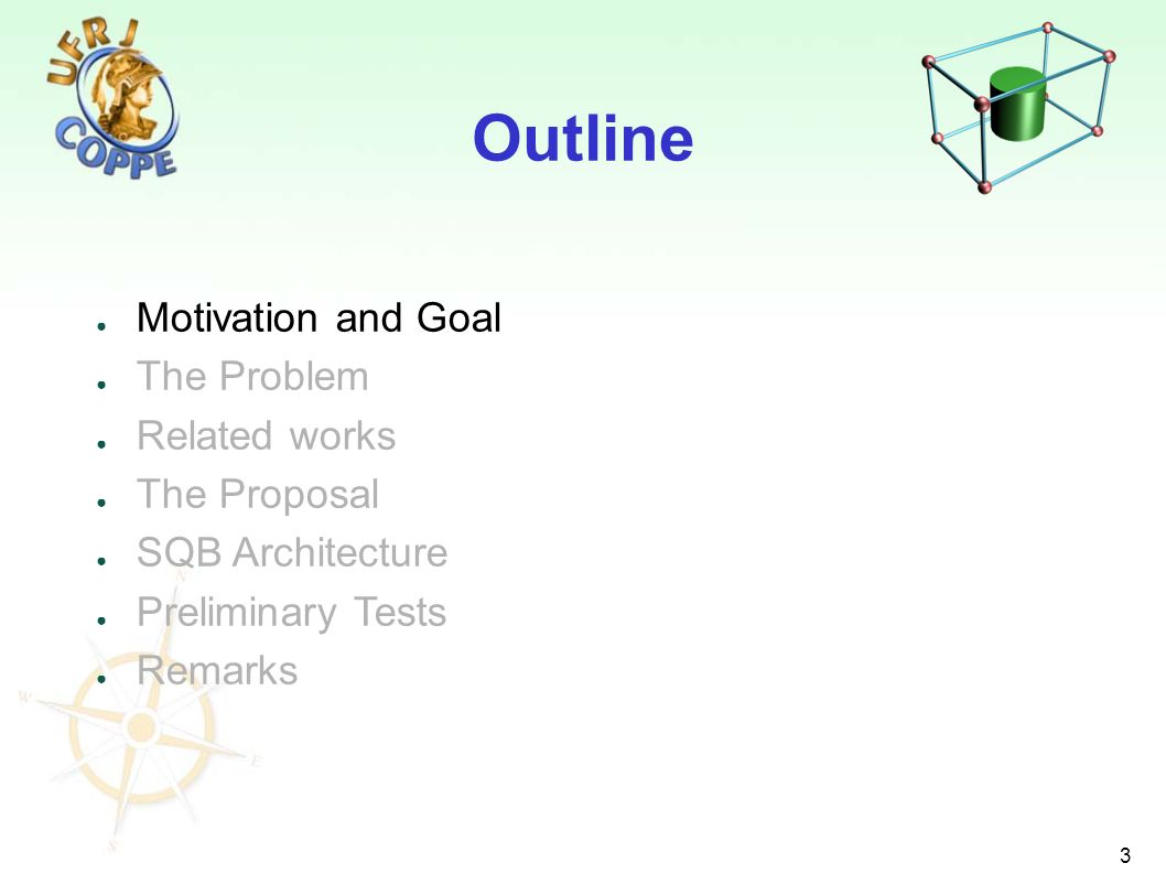 3 Motivation and Goal The Problem Related works The Proposal SQB Architecture Preliminary Tests Remarks Outline