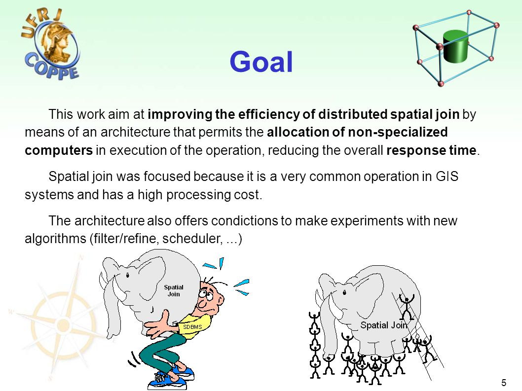 5 This work aim at improving the efficiency of distributed spatial join by means of an architecture that permits the allocation of non-specialized computers in execution of the operation, reducing the overall response time.