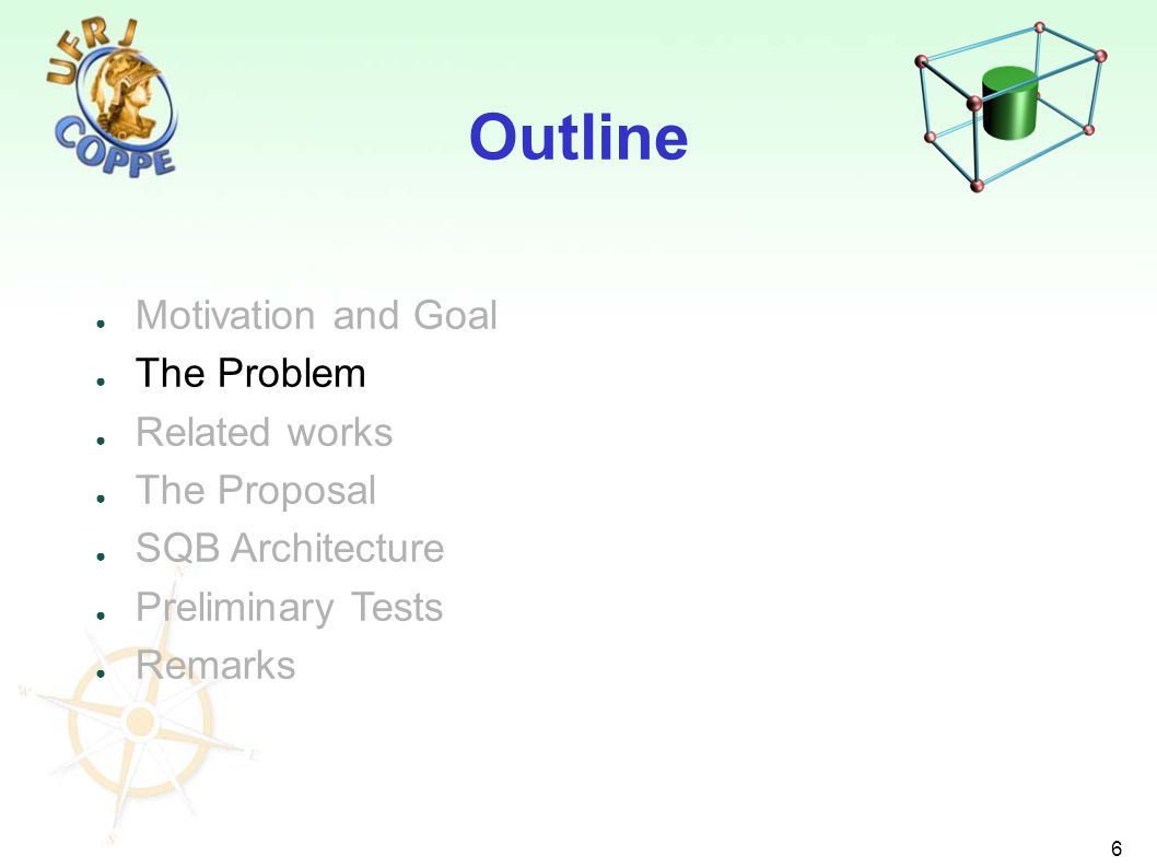 6 Motivation and Goal The Problem Related works The Proposal SQB Architecture Preliminary Tests Remarks Outline