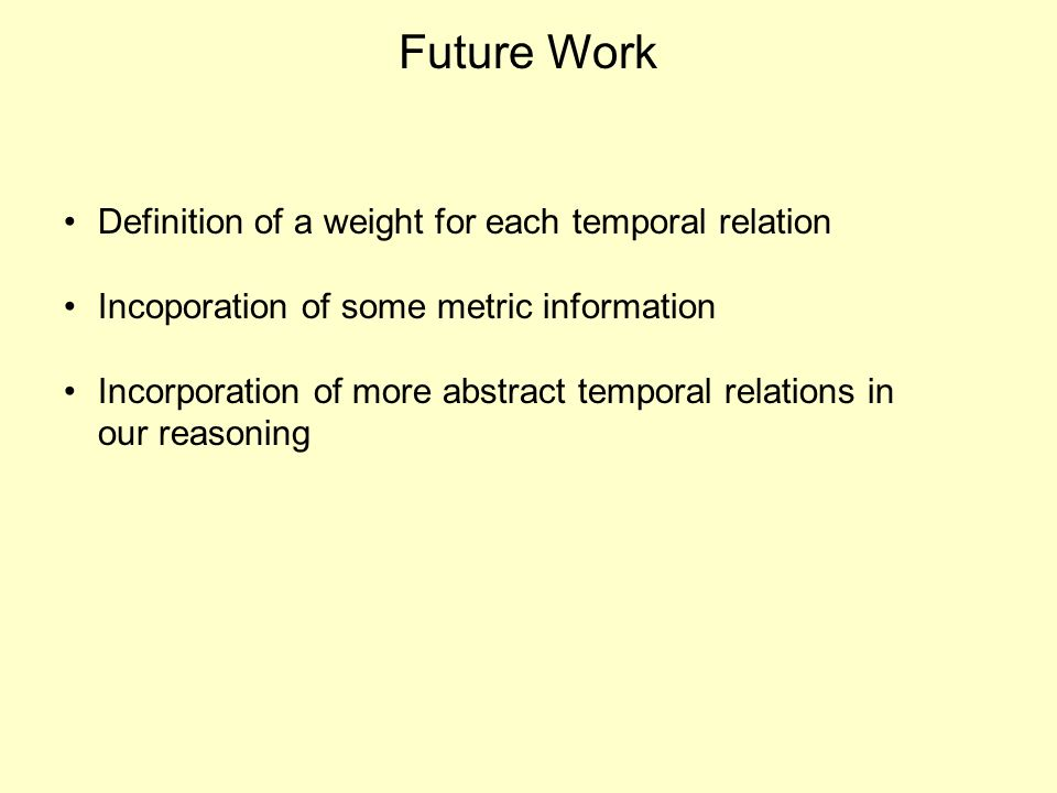 Future Work Definition of a weight for each temporal relation Incoporation of some metric information Incorporation of more abstract temporal relations in our reasoning
