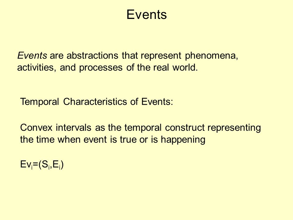 Events Events are abstractions that represent phenomena, activities, and processes of the real world.