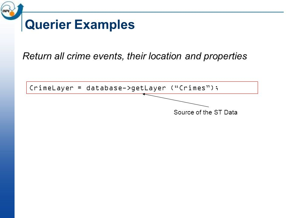 Querier Examples Return all crime events, their location and properties CrimeLayer = database->getLayer (Crimes); Source of the ST Data