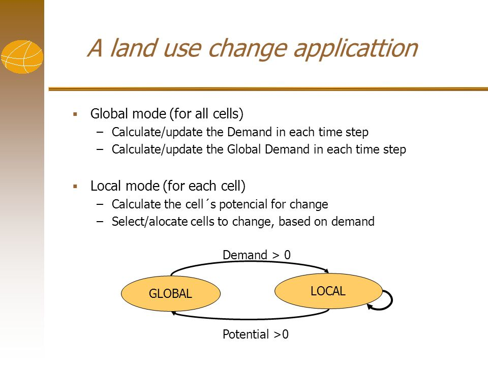 GLOBAL LOCAL Demand > 0 Potential >0 Global mode (for all cells) –Calculate/update the Demand in each time step –Calculate/update the Global Demand in each time step Local mode (for each cell) –Calculate the cell´s potencial for change –Select/alocate cells to change, based on demand