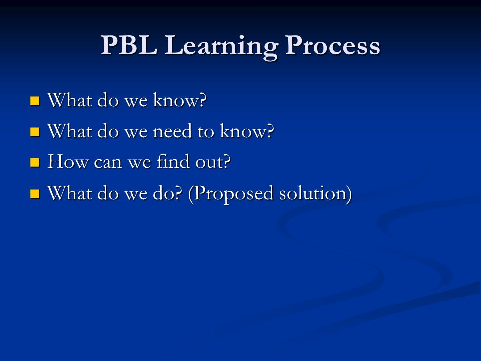 PBL Learning Process What do we know. What do we know.