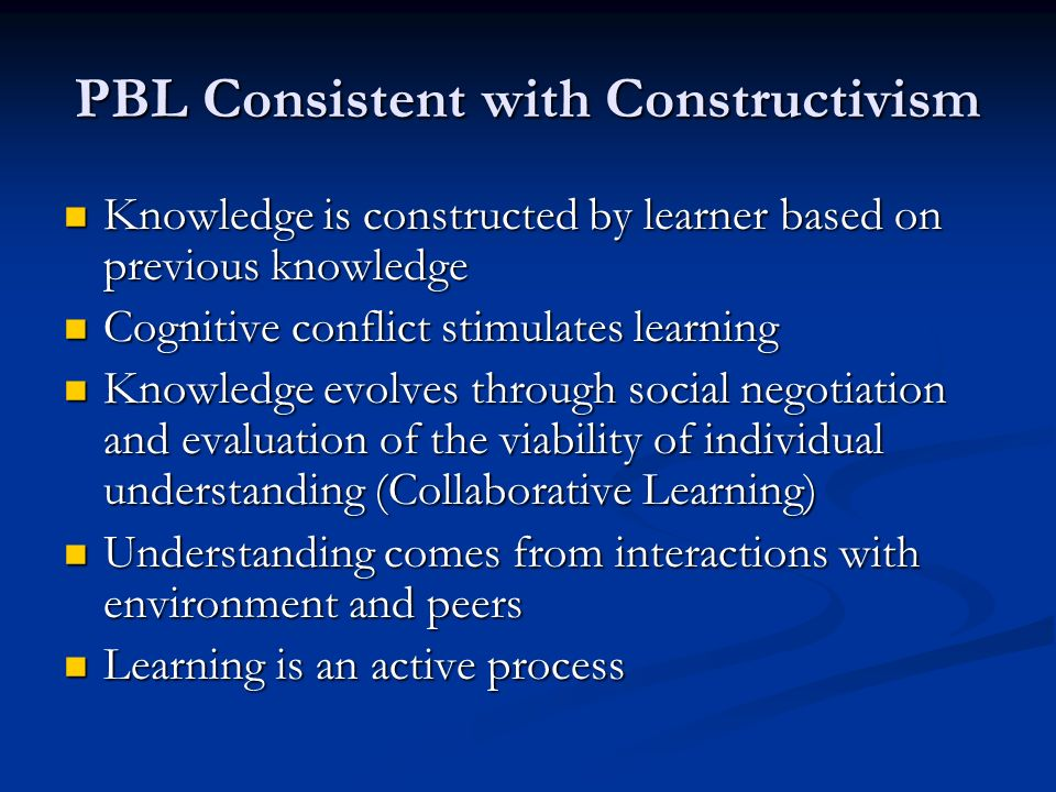 PBL Consistent with Constructivism Knowledge is constructed by learner based on previous knowledge Knowledge is constructed by learner based on previous knowledge Cognitive conflict stimulates learning Cognitive conflict stimulates learning Knowledge evolves through social negotiation and evaluation of the viability of individual understanding (Collaborative Learning) Knowledge evolves through social negotiation and evaluation of the viability of individual understanding (Collaborative Learning) Understanding comes from interactions with environment and peers Understanding comes from interactions with environment and peers Learning is an active process Learning is an active process