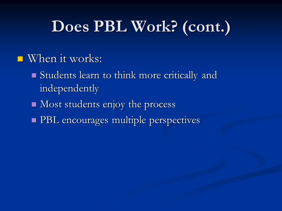 Does PBL Work.